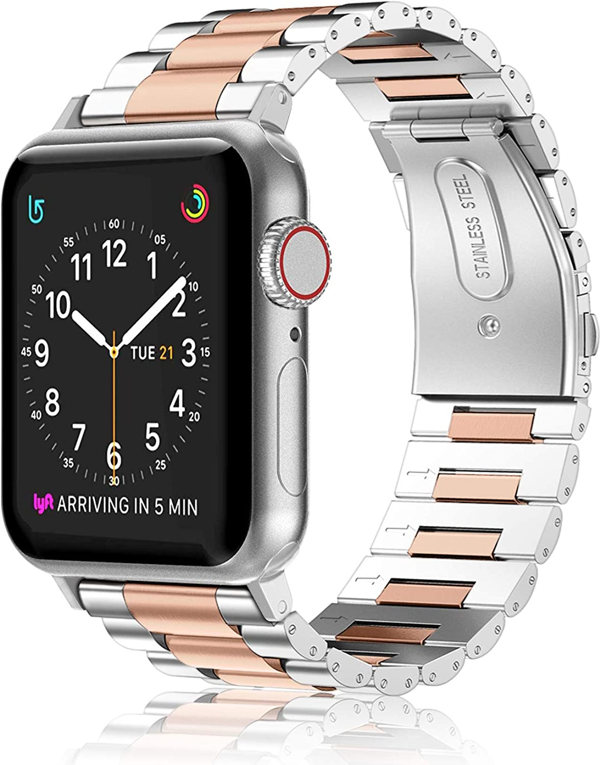 Fintie Band Compatible with Apple Watch 44mm 42mm Series 6/5/4/3/2/1/SE, Premium Stainless Steel Metal Replacement Wrist Strap Bracelet Compatible with All Versions 44mm 42mm Apple Watch, Silver, Rose Gold