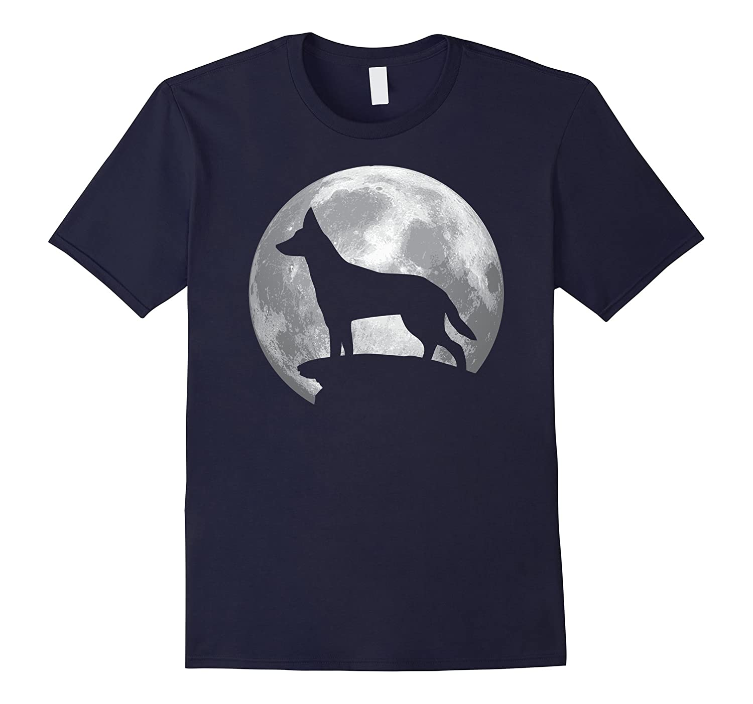 Dingo And Moon T-shirt For Dingo Lovers-Art