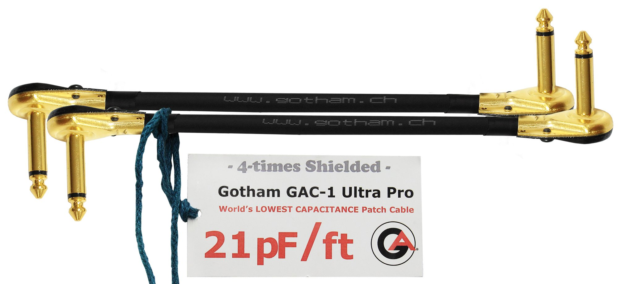 2 Units - 12 Inch - Gotham GAC-1 Ultra Pro - Low-Cap (21pF/ft) Guitar Bass Effects Instrument, S-Shaped Patch Cable & Gold (6.35mm) Low-Profile R/A Pancake Plugs - CUSTOM MADE By WORLDS BEST CABLES