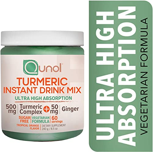 Qunol Turmeric Curcumin Vegetarian Instant Drink Mix, Ultra High Absorption Formula, 500mg 50mg Ginger, Anti-Inflammatory Joint Support, Sugar Free Dietary Supplement, Tropical Orange, 60 Servings