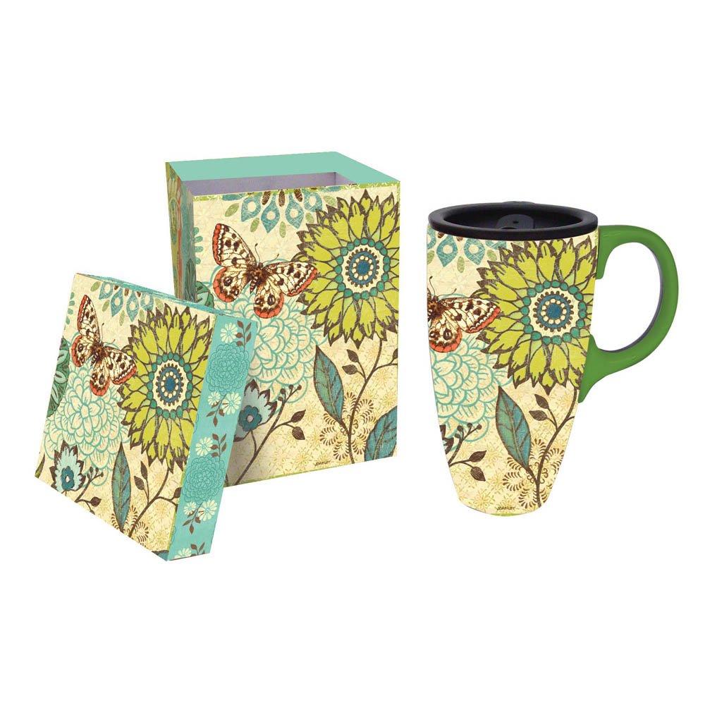 Nature's Garden Butterfly And Flowers Ceramic Latte Travel Mug Evergreen Enterprises