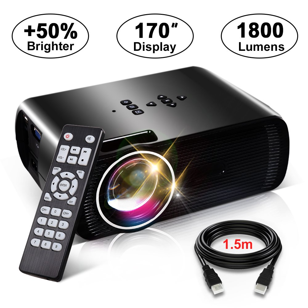 1800 Lumens Movie Projector, Konomio Multimedia Home Theater Portable Mini Video Projector with 170'' Display, Support HD 1080P HDMI,USB,SD Card,VGA,AV for Home Cinema,TVs,Laptops,PS4,Smartphone,iPad by Konomio