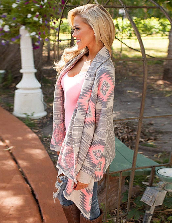makalar Women Casual Long Sleeve Cardigan Autumn Striped Loose Outwear Cardigans