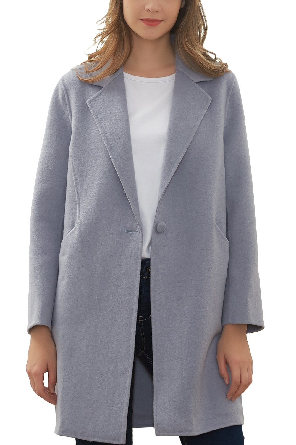 Hanayome Women's Warm Winter Wool Coat Lapel One Button Regular Fit Trench Jacket MI25 (Grey, 10)