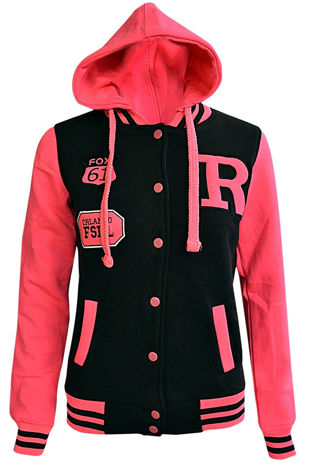 Noroze Girls Boys Kids Unisex Baseball R Hoodie Jacket