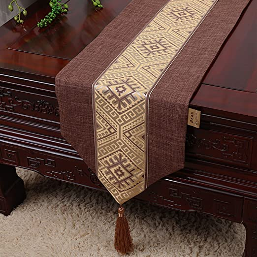 Caminos de mesa de alta calidad Brown Pastoral Fashion Runner de ...