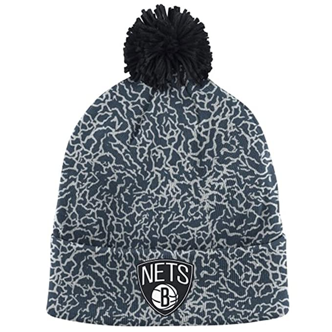 hot sale online d5e9a 34193 Mitchell   Ness Men s NBA Brooklyn Nets Crackle Pom Beanie, Black White