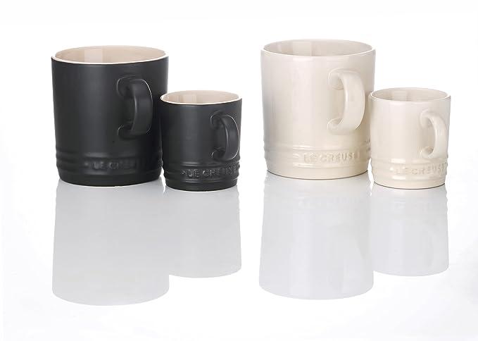 Le Creuset 91031500492010 tazas de café de cerámica, negro/blanco, 4 pcs: Amazon.es: Hogar