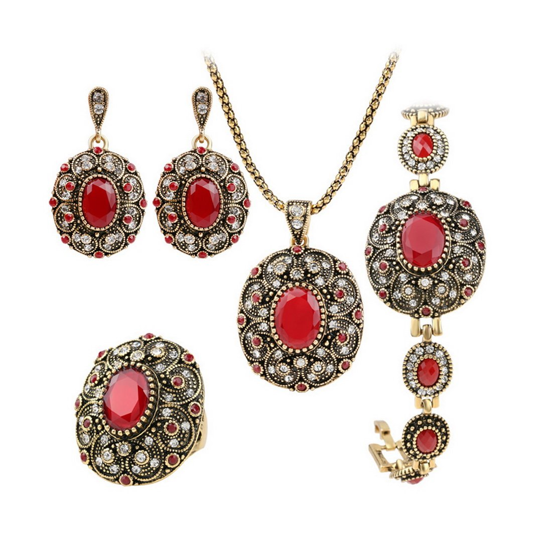 Amazon.com: PSEZY Vintage Jewelry Set Dubai Gold Plating Oval Ruby Wedding Jewelry  Sets Engage Party of love: Jewelry