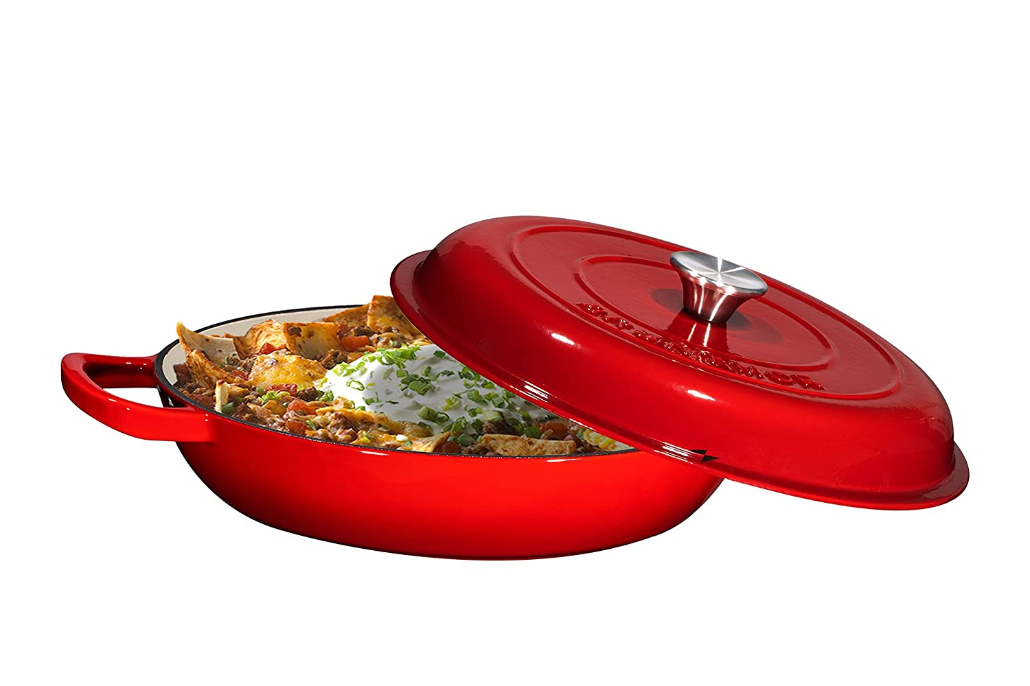 Enameled Cast Iron Casserole Braiser - Pan with Cover, 3.8-Quart, Gradient Red Bruntmor BR-SC472