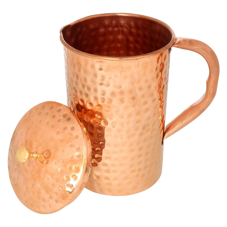 Zap Impex Pure cobre amartillado Jarra con 2/vasos para la salud beneficios Cobre Agua Jarra 1600/ml