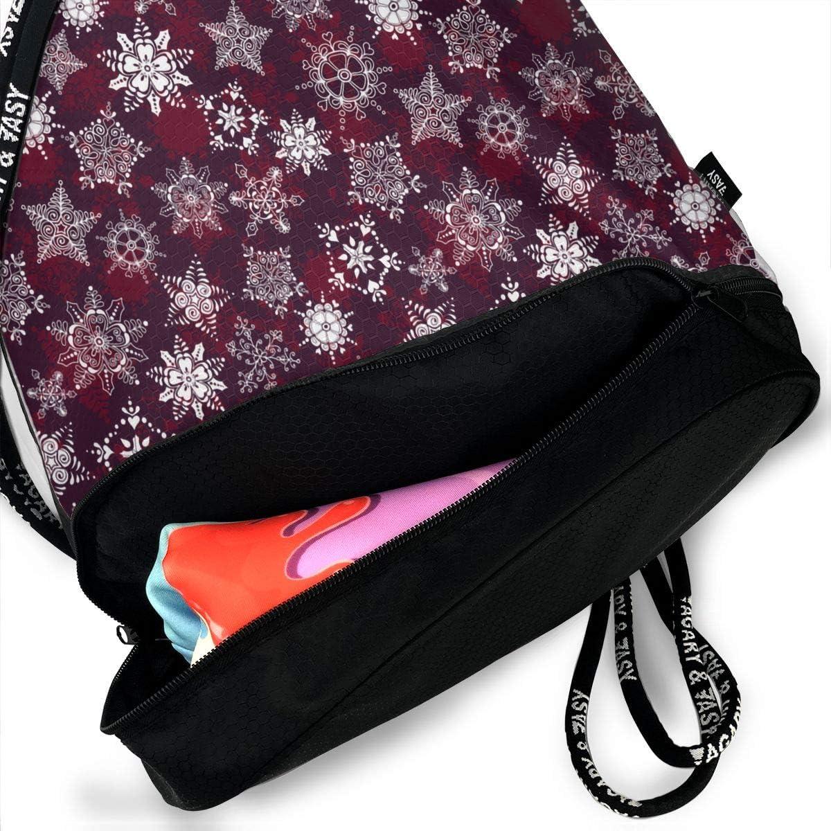Drawstring Backpack Holiday Snowflakes Bags