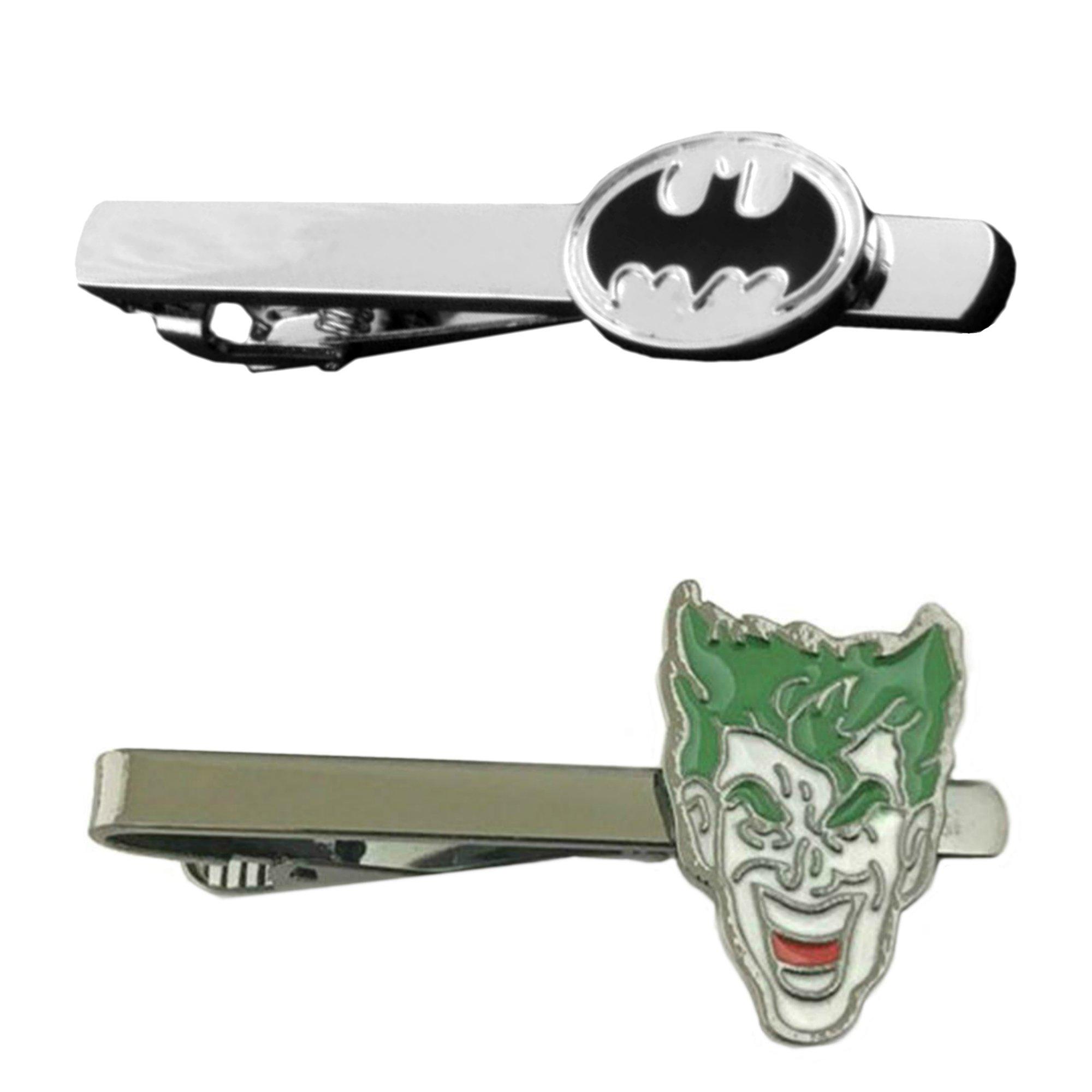 DC Comics - Batman & Joker - Tiebar Tie Clasp Set of 2 Wedding Superhero Logo w/Gift Box