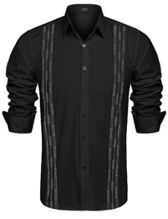 4fb2c4e2d1 COOFANDY Men s Long Sleeve Cuban Guayabera Shirt Embroidered Button-Down  Dress Shirts at Amazon Men s Clothing store