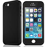 Waterproof case for iPhone 5 5S, eMobile Built-in Screen Protector Clear Face Plate Dust Dirt Proof Shockproof Ultra thin Silicone TPU Plastic Case Cover for Apple iPhone 5 5S (Black/Black)