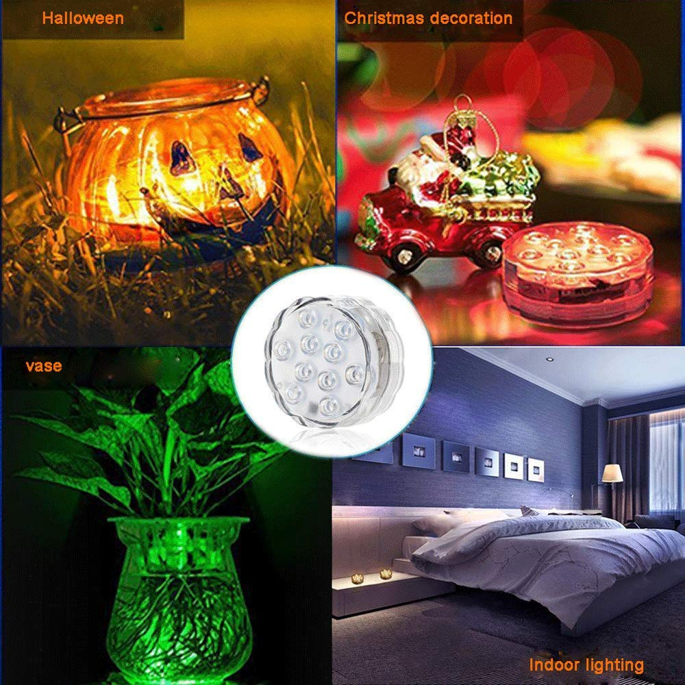 ba/ño fr/íos 2/luz sumergible + 2/Mando a distancia Floral Les piscines decoraci/ón jarr/ón de base Acuario LED luz sumergible impermeable con la mando a distancia cambio de color para