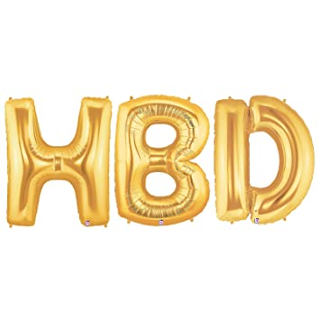 AmazonCom Hbd Alphabet Word Balloons  Gold Foil Celebration