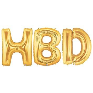 AmazonCom Hbd Alphabet Word Balloons  Gold Foil Celebration