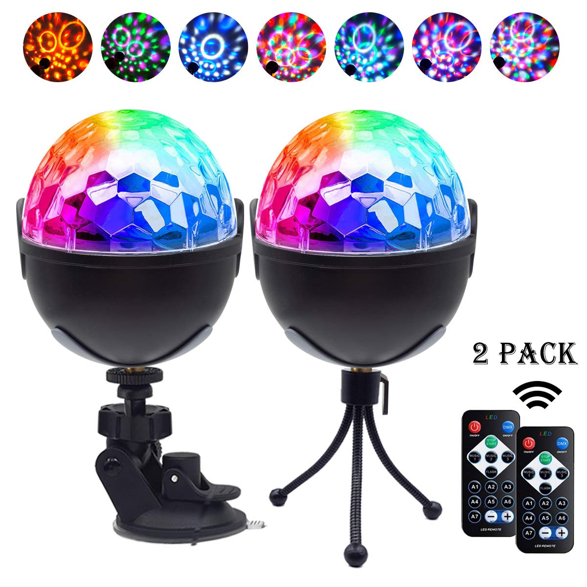 Disco Ball Party Lights,Sound Activated Disco Lights with Remote Control,7 RBG Modes Atmosphere Strobe Light for Home Room Dance Birthday DJ Bar Karaoke Xmas Wedding Show Club Pub (Multicolor) by Lukasa