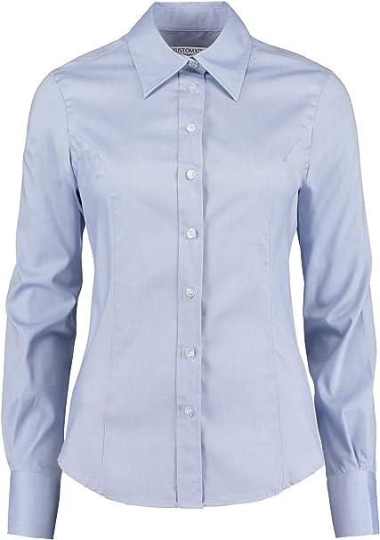 Kustom Kit - Camisa Oxford de manga larga para mujer Azul azul claro 44: Amazon.es: Ropa y accesorios