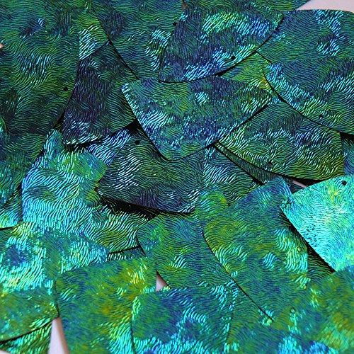 Sequin FishScale Fin 24 x 40mm Van Gogh Starry Night Blue Green Swirl Texture Couture Paillettes. Made in USA. Loose sequins for embroidery, bridal, applique, arts, crafts, and embellishment.