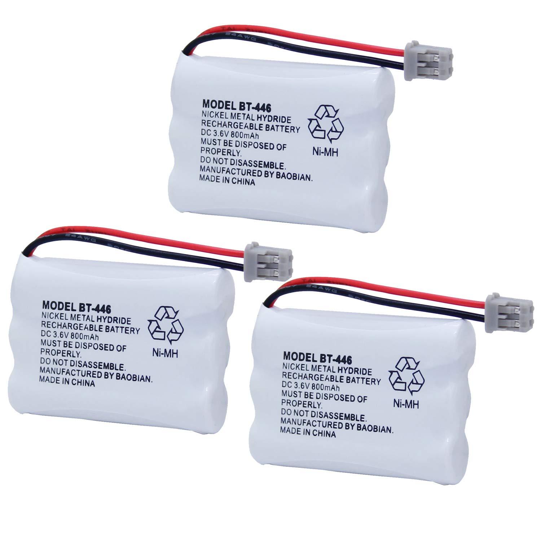 BAOBIAN BT-446 BT446 BT-504 BT-1004 BT-1005 Cordless Phone Battery Compatible with Uniden UIP1868 TRU8885 TRU885-2 TRU8888 BBTY0503001 GE-TL26402 CPH-488B Handset Phone 3.6V 800mAh Ni-MH (3 Pack)