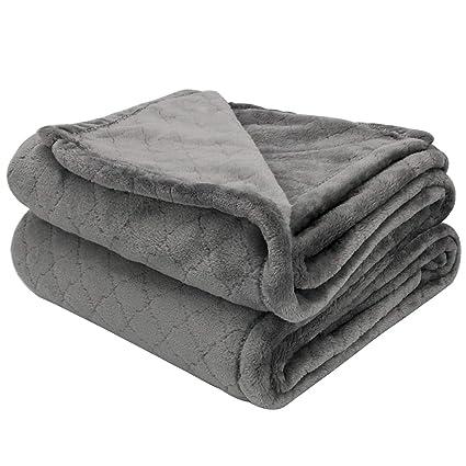 Arkham Flannel Sherpa Blanket Throw Grey Home Blanket,Fluffy Thick Blanket  Warm Bed Throws for Sofa,Exquisite Comfortable Plum Pattern Thicken Dark ...