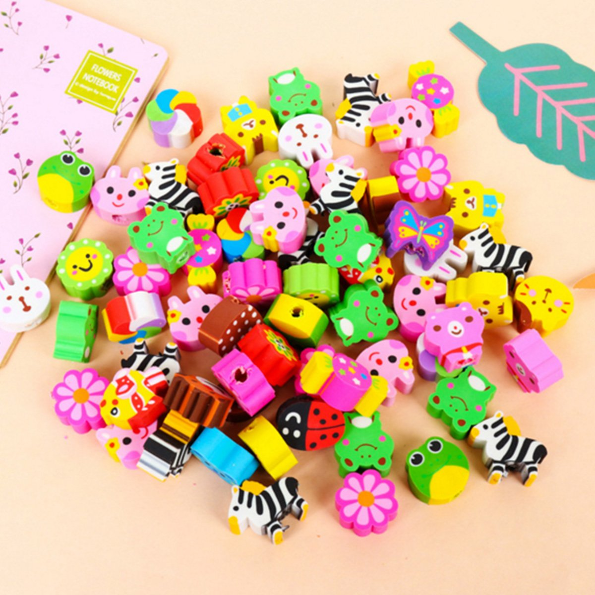 12 Mini Bags, 48 Erasers Total School Supplies Classroom Student Prize Packs Toys /& Games Colorful Mini Fruits /& Vegetables Tiny Foods Miniature Pencil Erasers for Children Party Favors