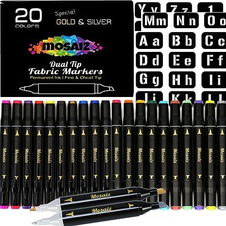 Rotuladores de tela de doble punta, 20 colores para pintura de ...
