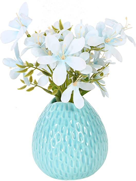 sonifer Artificial Rose Silk Flower Bouquet Decoration Fake Flower with Ceramic Vase for Home Office Table Wedding (Blue)