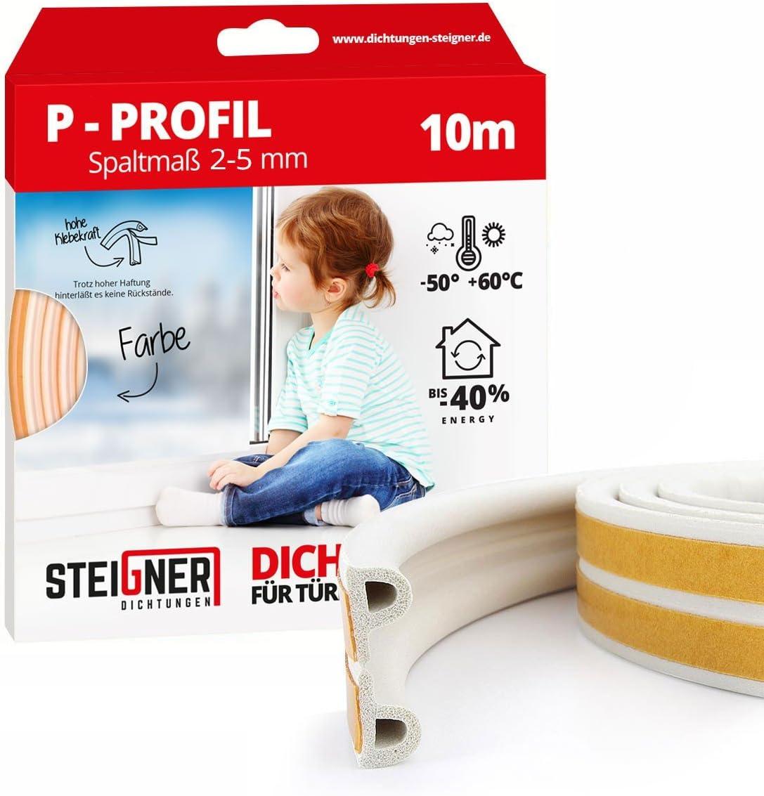 STEIGNER 5 m Joint de Fen/être Autocollant Profil P Blanc Joint en Caoutchouc EPDM Joint d/Étanch/éit/é