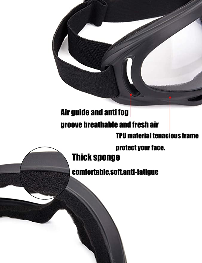 0ad3e4b329 Unisex Pilot Motorcycle Goggles Ski Snowboard Anti-UV Anti-fog Protect  Safety Glasses - - Amazon.com