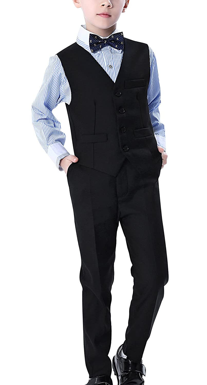 Aivtalk Boys 4 Piece Suit Set with Vest Pants Shirt and Bowtie Wedding Suit