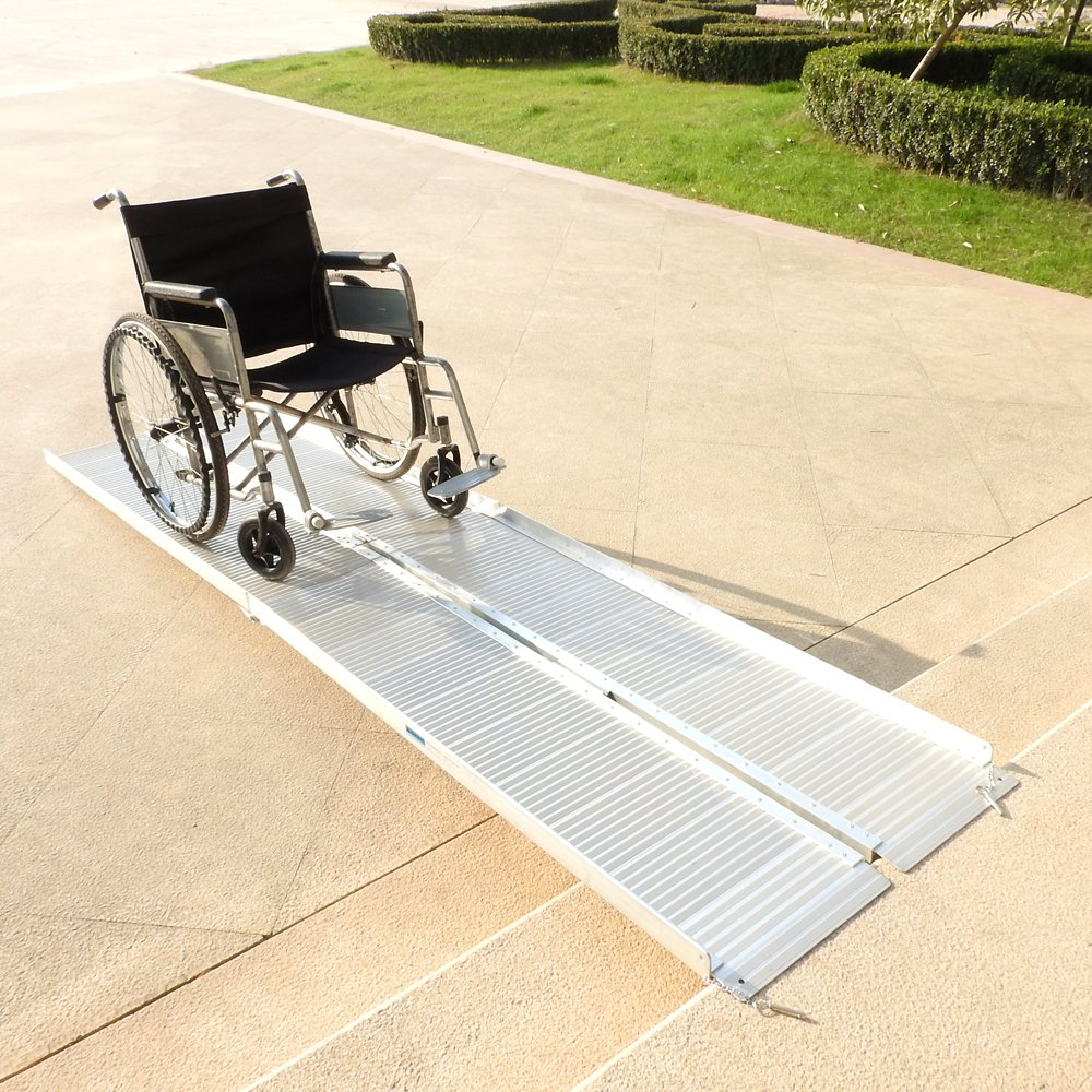 Goujxcy Threshold Ramps,10' Portable Folding Aluminum Wheelchair Threshold Ramp with Ribbed Surface and Carrying Handle by Goujxcy