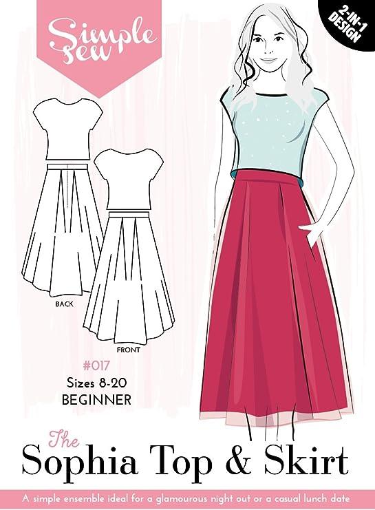 Patrón de costura simple para mujer The Sophia Top & Falda para ...