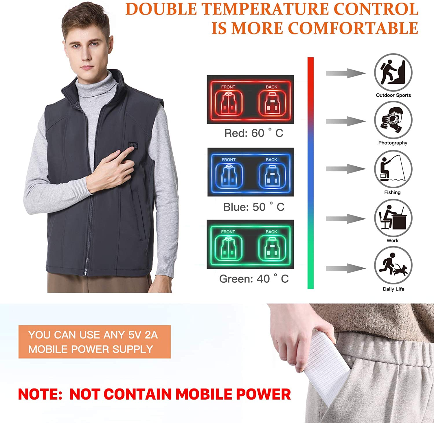 Keymao Electric Warmer USB Heated Vest 44 Temperature Regulation Lightweight Adjustable Size for Men Battery Not Included