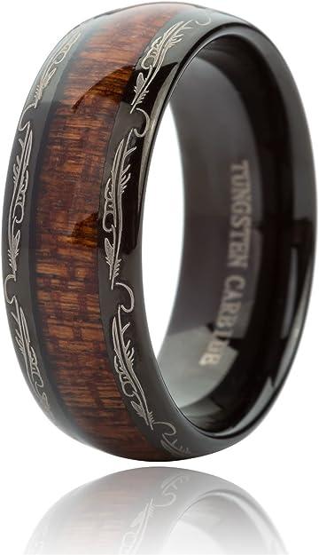 Black Mens Ring,Tungsten Wedding Band,8MM Tungsten Ring Koa Wood Inlaid Tungsten Carbide Ring with Arrow Inlay