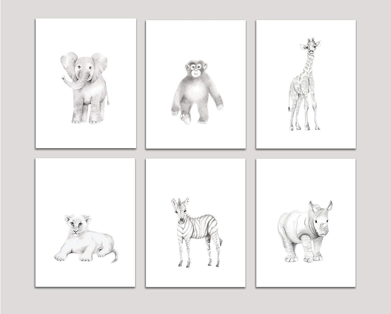 Amazon com grey safari nursery art prints set of 6 baby