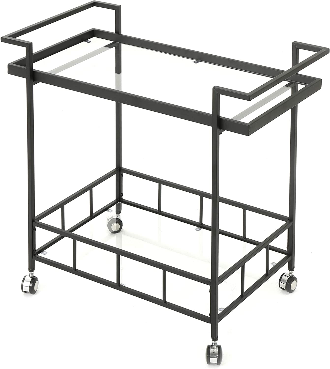 Christopher Knight Home Ambrose Indoor Industrial Iron Bar Cart with Tempered Glass Shelves, Black