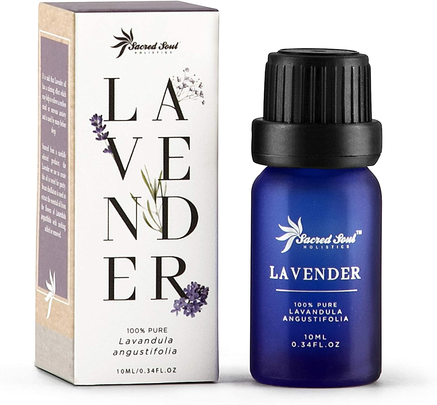 Sacred Soul 100% Pure Lavender Essential Oil - 10ml - Organically Grown - GCMS Tested - Calming & Relaxing - Perfect For Aromatherapy, Diffuser or Burner, Candle & Soap Making, Skin