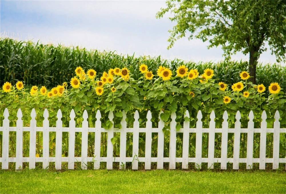 Yeele 6x4フィート 中庭 ファーム背景 写真用 夏 ひまわり コーンフィールド フェンス 背景 子供 大人 写真ブース 撮影 ビニール スタジオ 小道具   B07KVFHM6K