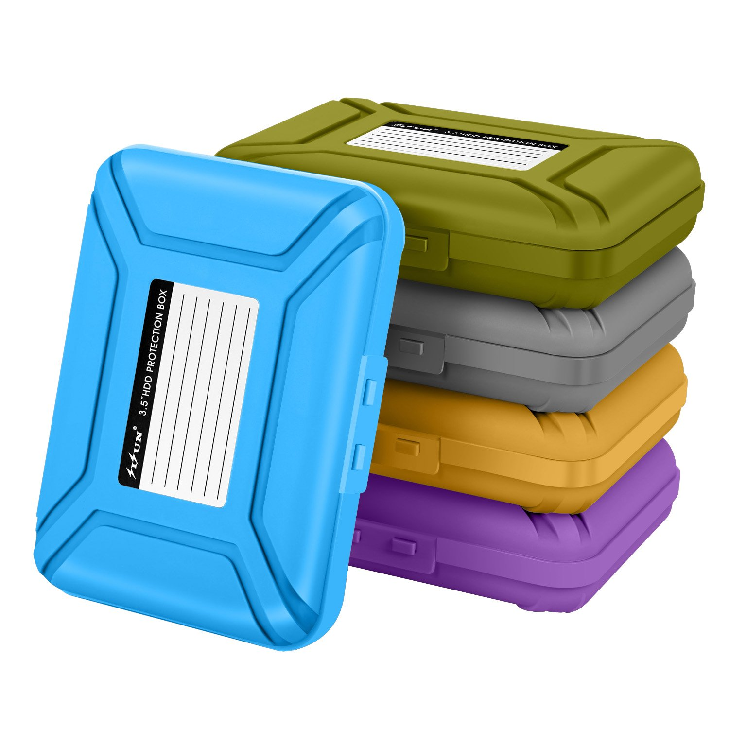 [5-Colors]SISUN 3.5 inch Anti-Static HDD Protector Case , 3.5 '' Hard Drive protective Case - HDD Storage Box Grey/Purple/Yellow/Blue/Green (Five Colors)