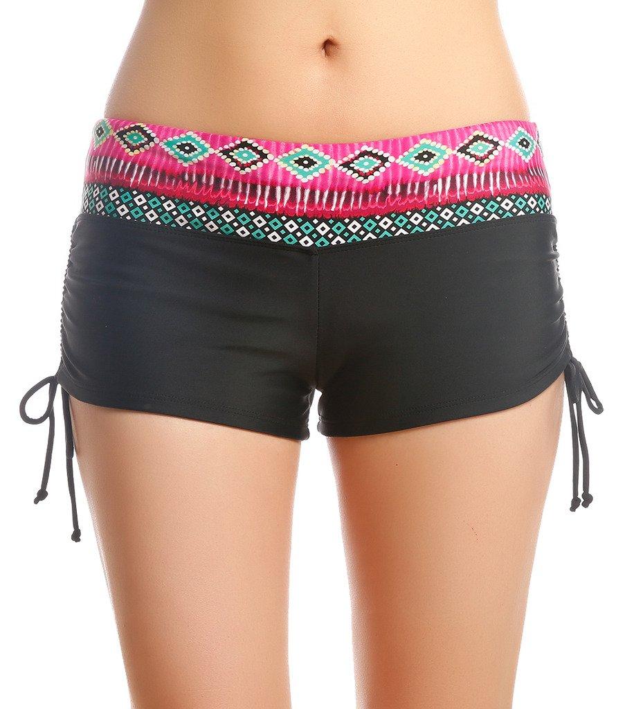 OUO Womens Girls Adjustable Drawstring Mini Swim Shorts Bikini Boy Style Short