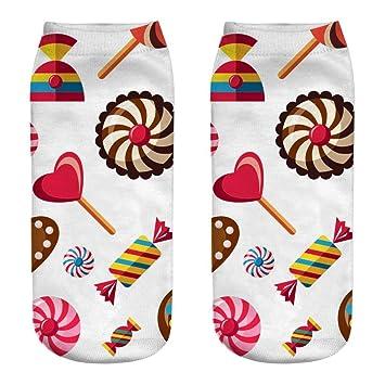 YJYda Calcetines de algodón con impresión 3D de Caramelos ...