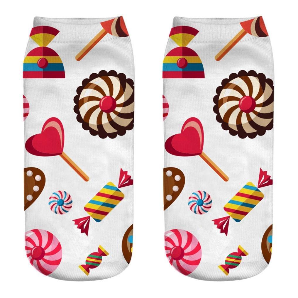 YJYdada Cute Casual Cotton Socks 3D Candy Printing Medium Socks Socks Sports Socks (G)