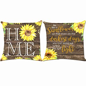 ZUEXT American Rustic Sunflower Home Decorative Throw Pillow Covers 18x18 Inch, Set of 2 Quality Cotton Linen Indoor Outdoor Autumn Pillow Case Cushion Cover for Car Sofa Home Decor(White Background)