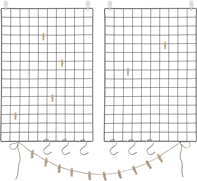 SONGMICS Juego de 2 Paneles de Malla, Pantalla para Foto, 65 x 45 cm, Decoración de Pared Metálica, Múltifuncional, Bricolaje, Exhibición de Arte, Gancho S, Pinzas, Cordón de Cáñamo, Negro LPP02H