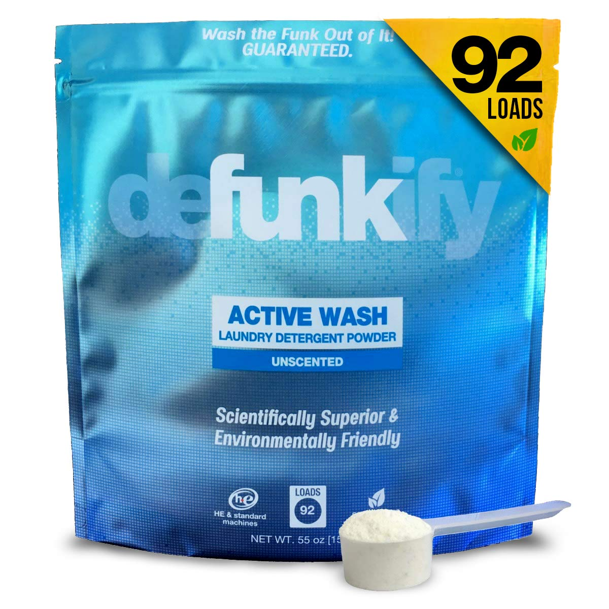 Defunkify Active Wear Powder Laundry Detergent, All Natural, Plant-Based, Enzyme Cleaner, Odor and Stain Remover, Free and Clear, Unscented 55 oz (92 Loads)