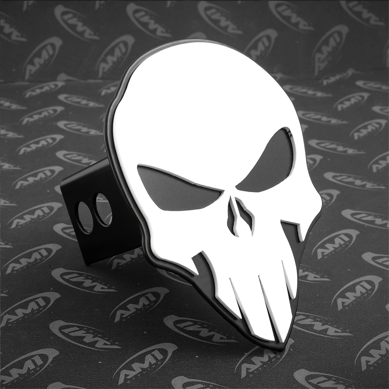 All Sales AMI 1042WK Skull Style White on Black Hitch Cover