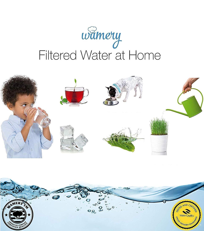 Wamery Carafe filtre deau 2l avec indicateur LED Enl/ève le plomb de leau du robinet le chlore et les m/étaux Certifi/é WQA sans BPA Am/éliore le niveau de PH avec Filtre gratuit